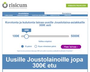 Risicum Joustolainaa 0 % korolla ilman mitään kuluja!