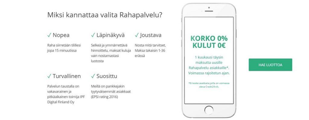 Rahapalvelu.fi hyvät edut.