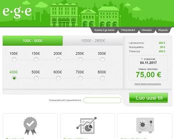 Ege.fi edullinen 100 - 2800 euron pikavippi.